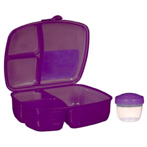 Packed Lunch Salad & Ready Meal Box with Compartments & Pot (Purple)